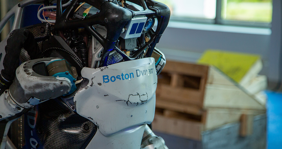 A close up of the Atlas robot's shoulder and chest plate