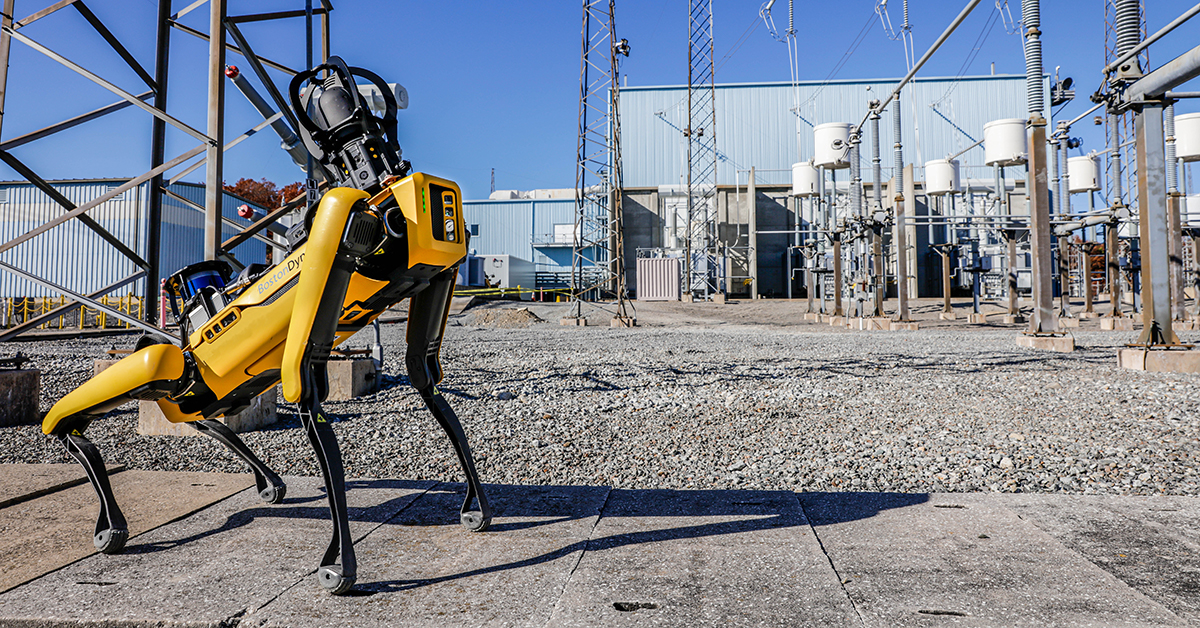 Spot conducts an inspection at an electrical utility.