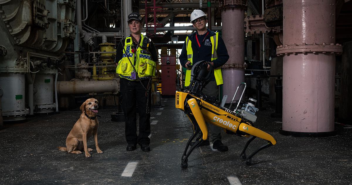 Spot with inspectors at the Sellafield Calder turbine hall